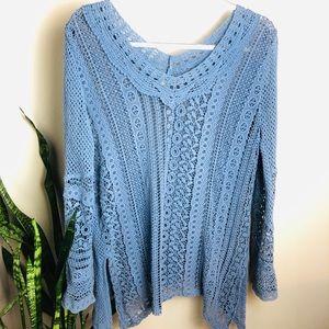 Soft Surroundings Blue Lace Tunic